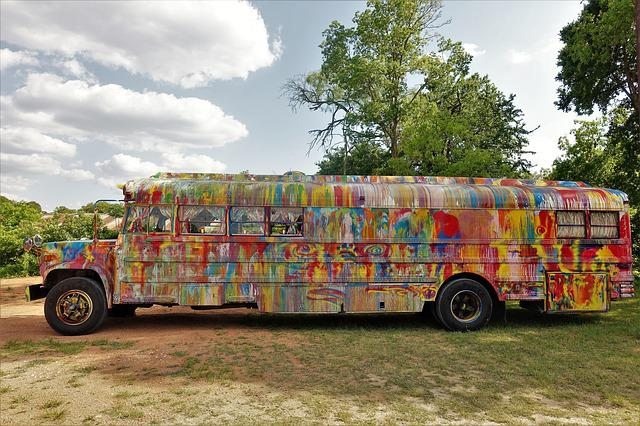 Colorful, School Bus, Vehicle, Texas