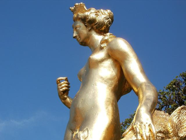 Atalante, Statue, Arcadian, Schwetzingen, Golden