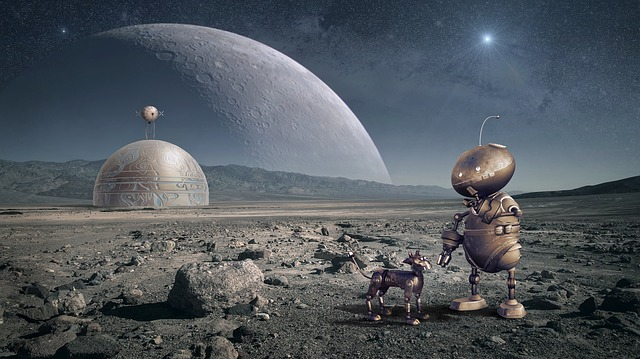 Robot, Planet, Moon, Space, Forward, Universe, Sci Fi