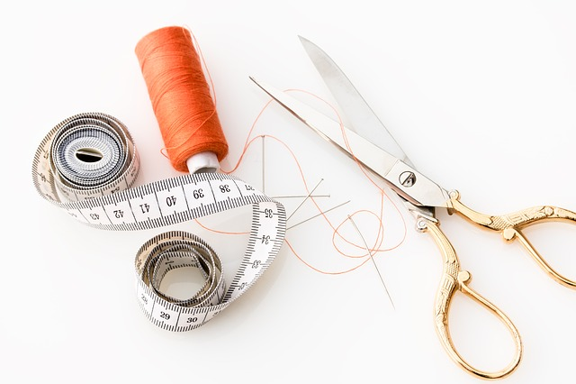 Tape Measure, Scissors, Fabric Scissors, Thread