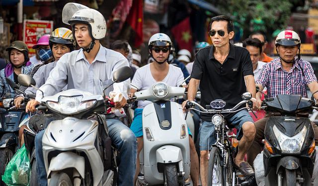 Scooter, Bicycle, Traffic, Helmet, Men, Vietnam, Hanoi