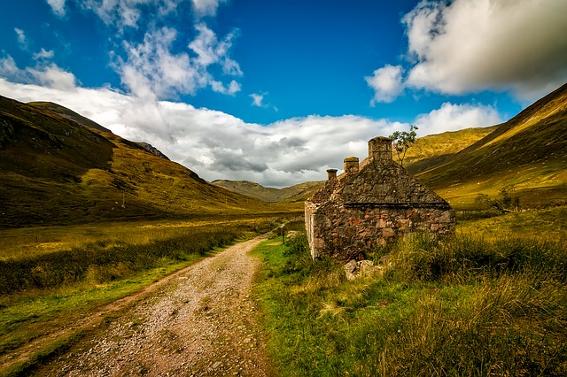 Scotland, Cottage, House, Abandoned, Landscape