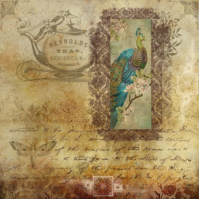 Scrapbook, Vintage, Peacock, Mot, Text, Paper, Mark