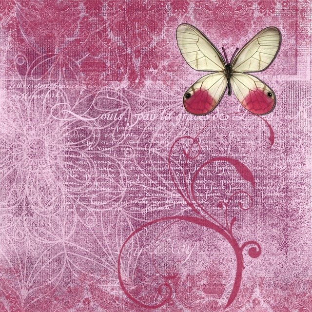 Background, Rose, Butterfly, Texture, Scrapbook