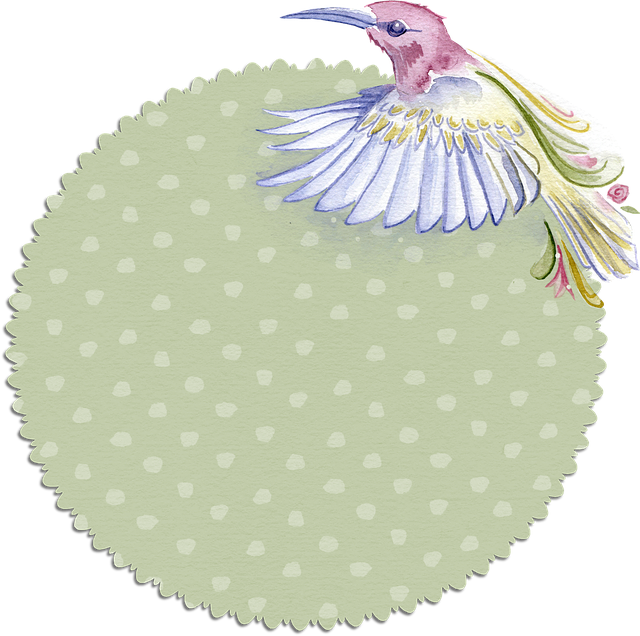 Bird, Tag, Soft, Pastel, Dot, Scrapbook, Round, Label