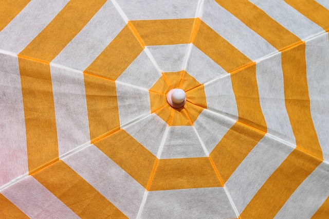 Parasol, Sun Protection, Screen, Yellow, White, Pattern