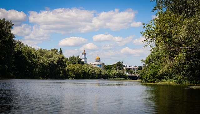 Scrip, City, Small River, Nature, Trees, Cathedral