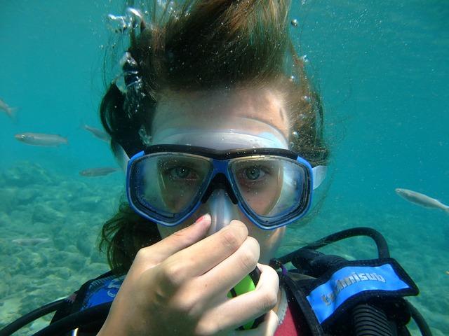 Diving, Greece, Rhodes, Woman, Diver, Scuba