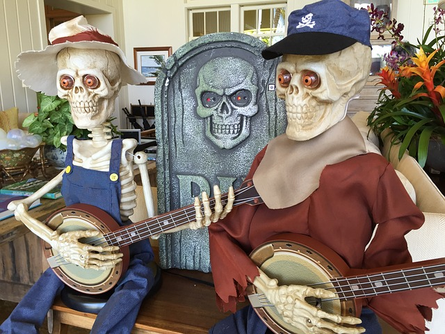 Skeletons, Haloween, Music, Figures, Scull, Rip, Funny