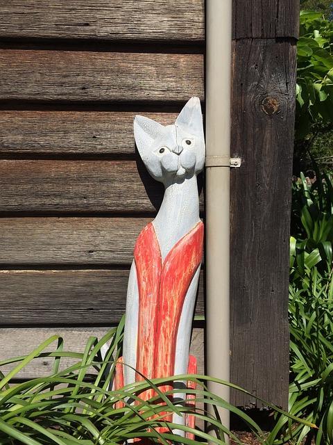 Wood, Cat, Wooden Cat, Art, Brown, Building, Sculpture