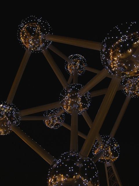 Belgium, Brussels, Atomium, Evening, Sculpture