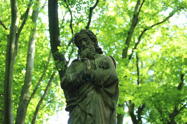 Sculpture, Stone Statue, Saint James, In The Forest