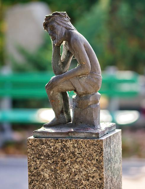 Sculpture, Figurines, Artistic, Article, Man, Thinking