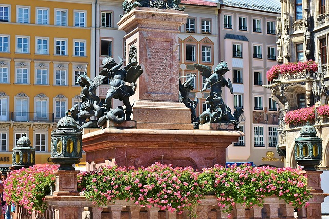Marienplatz, Munich, Marian Column, Bavaria, Sculpture