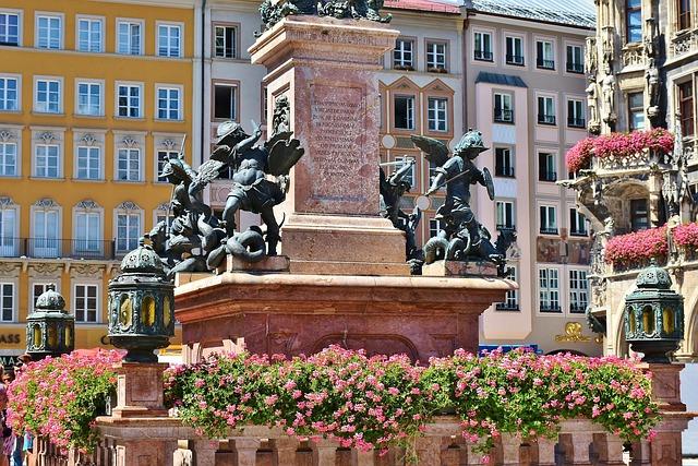 Marienplatz, Munich, Marian Column, Bavaria, Sculpture