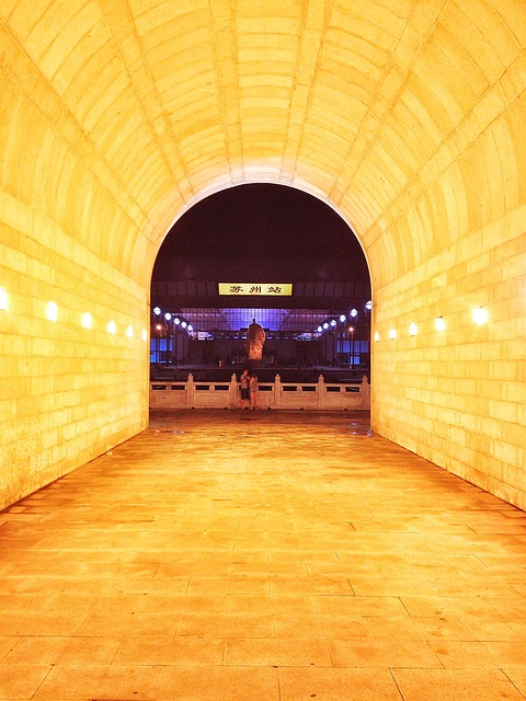 Suzhou, Train Station, Sculpture, Night View