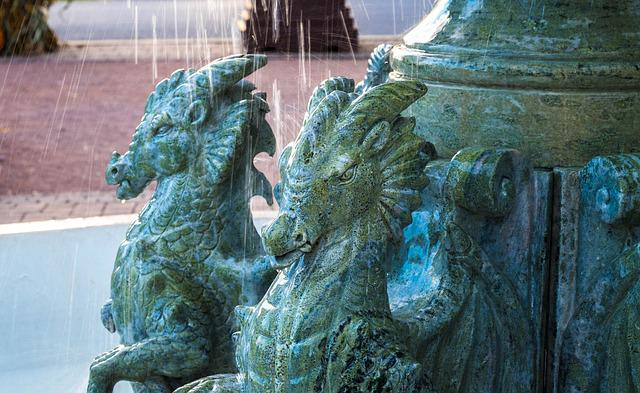 Dragons, Fountain, Water, Sculpture, Outdoor, Statue