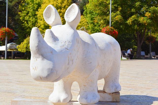 Statue, Rhino, Sculpture, Marble, White, Craiova