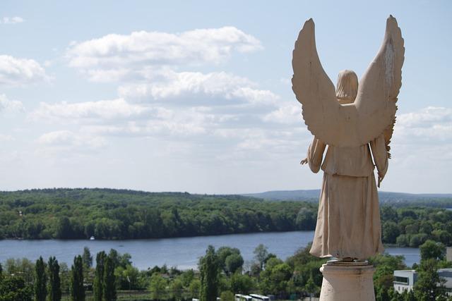 Angel, Statue, Sky, Sculpture, Wing, Potsdam