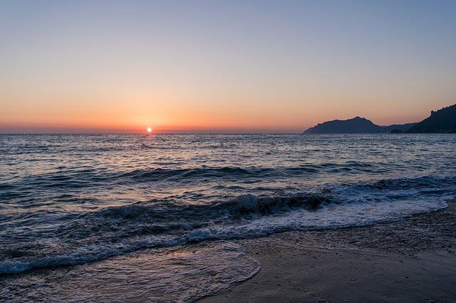Sunset, Beach, Water, Sea, Afterglow, Silhouette, Ocean
