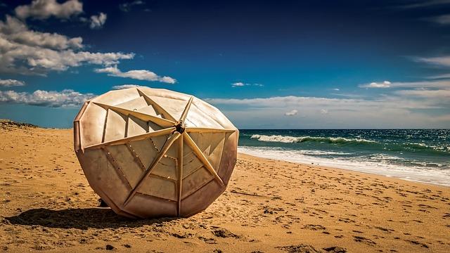 Parasol, Sun Shade, Sand, Beach, Seashore, Water, Sea