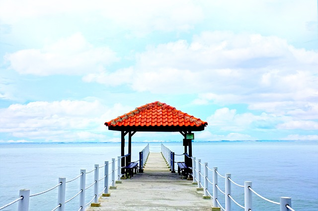 Pier, Gazebo, Dock, Ocean, Sea, Blue, Sky, Water