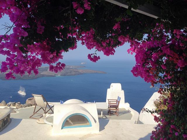 Island, Greece, Santorini, Flowers, Blue, Travel, Sea
