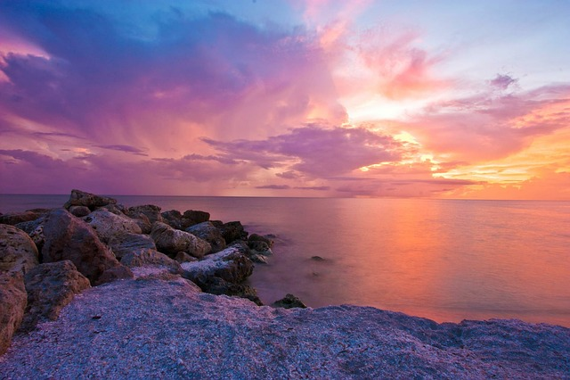Ocean, Sunset, Sea, Red, Cloud, Landscape, Beach