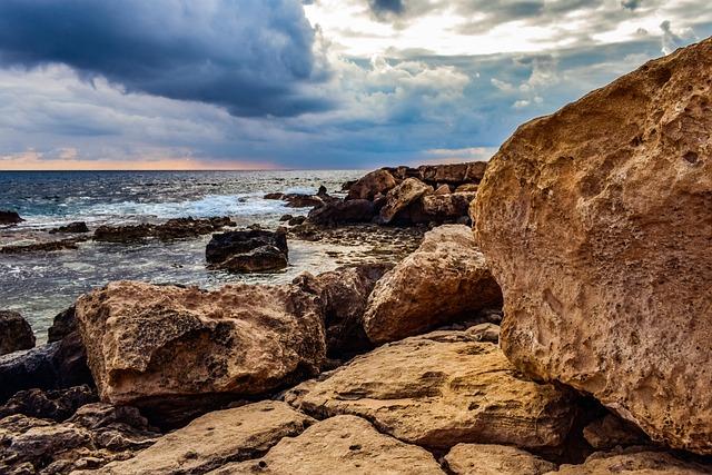Rocky Coast, Rock, Sea, Nature, Sky, Clouds, Overcast