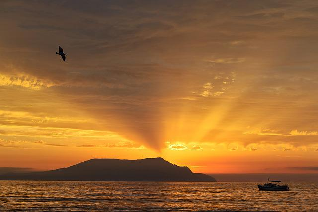 Dawn, Landscape, Cape, Sea, Seagull, Boat