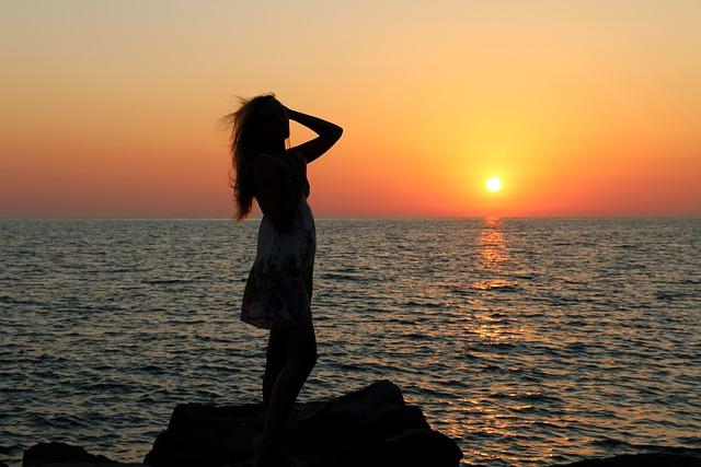 Sunset, Sun, Twilight, Dawn, Water, Girl, Sea