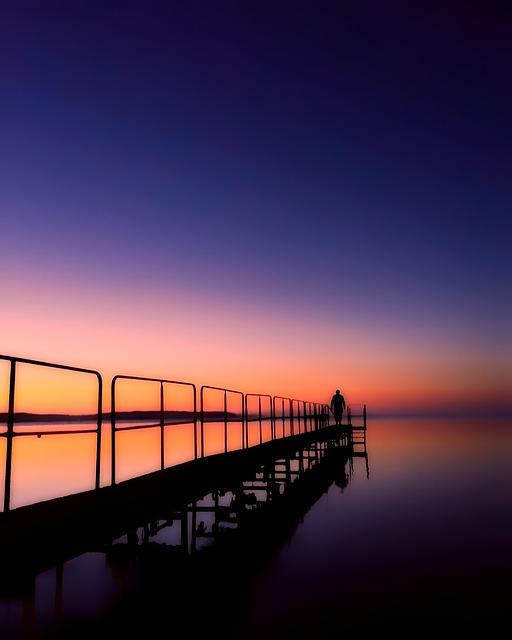 Denmark, Sunset, Dusk, Figure, Silhouettes, Sea, Ocean