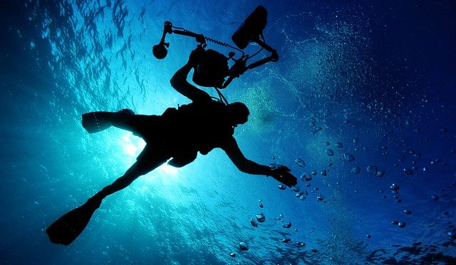 Sea, Scuba Diving, Ocean, Water, Light, Diver