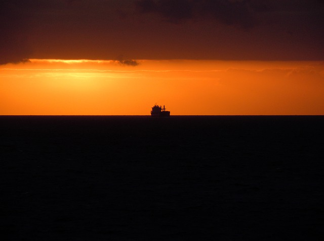 Back Light, Sea, Ship, Evening Sun