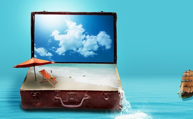Fantasy, Luggage, Sea, Beach, Clouds, Go Away, Sun Bed