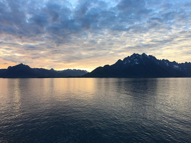Midnight Sun, Fjords, Sea, Norway, Travel, Sky