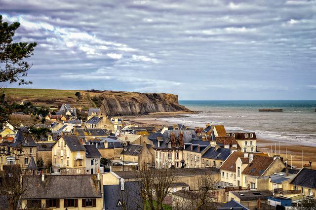 City, France, Normandy, Arromanches-les-bains, Sea