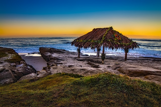 Sea, Ocean, Waves, Hut, Garland, Flowers, Sunset, Beach