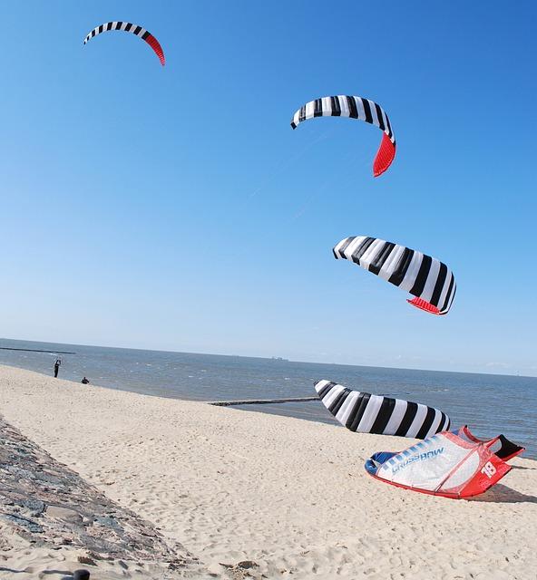 Kitesurfer, Kite Surfing, Beach, Sky, Blue, Sea