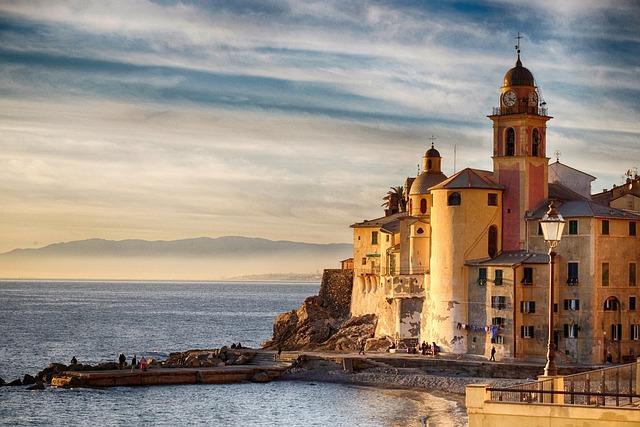 Sea, Landscape, Architecture, Camogli, Liguria, Italy
