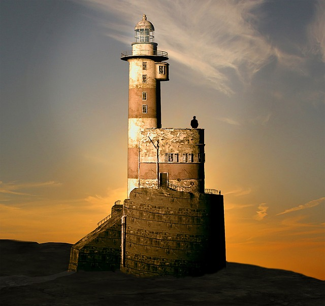 Lighthouse, Evening, Sunset, Afterglow, Sea, Coast