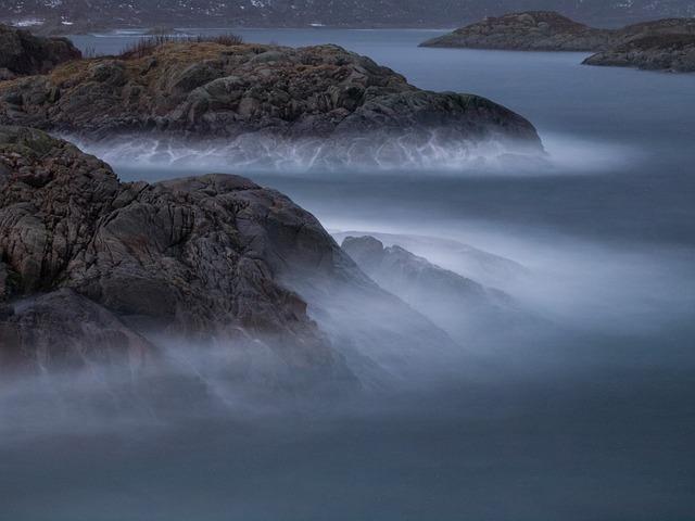 Waves, Cliffs, Sea, Norway, Lofoten, Svolvaer