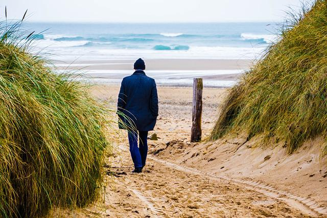 Man At Sea, Dune, Water, Beach, Atlantic, Man, Sea