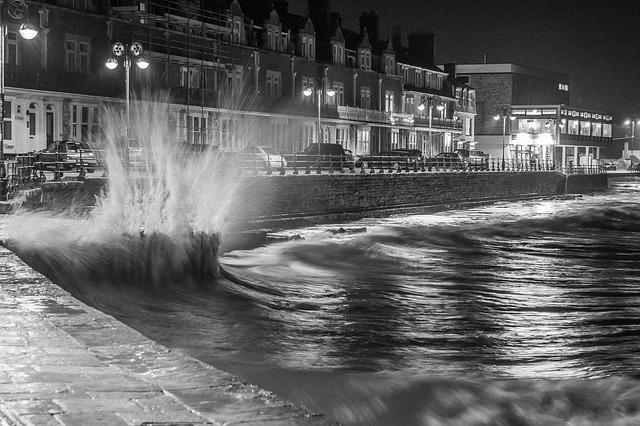 Swanage, Night, Sea, Wavwater, Wind
