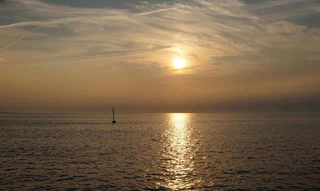 Sunset, Sun, Dawn, Waters, Sea, North Sea