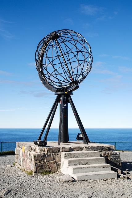Norway, Globe, North Cape, Stairs, Bricks, Stones, Sea