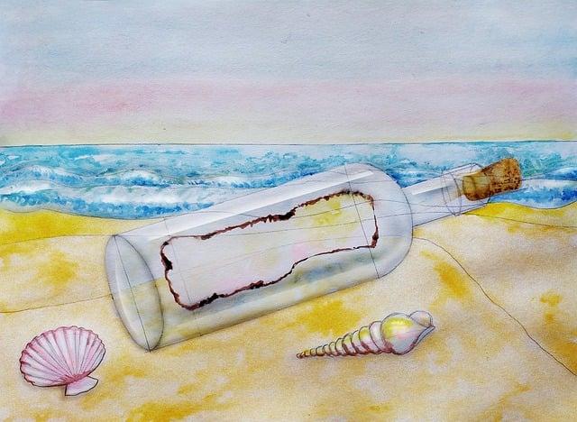 Message In A Bottle, Beach, Sea, Watercolor, Ocean