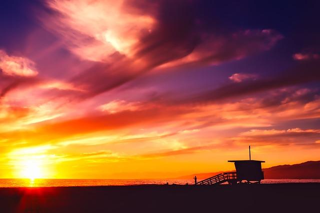 Santa Monica, California, Sea, Ocean, Sky, Clouds