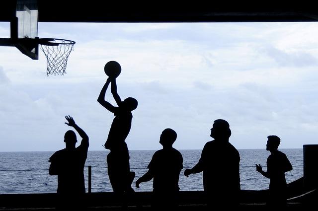 Uss Nimitz, Basketball, Silhouettes, Sea, Ocean, Water