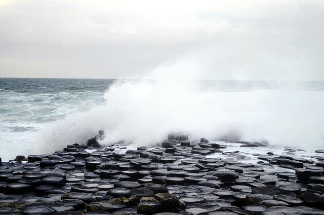 Sea, Ocean, Ireland, Grey Sky, Wave, Flood, Landscape